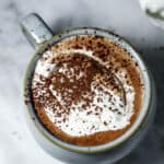 Hot chocolate in a mug with a dollop of whipped cream on top with cocoa dust