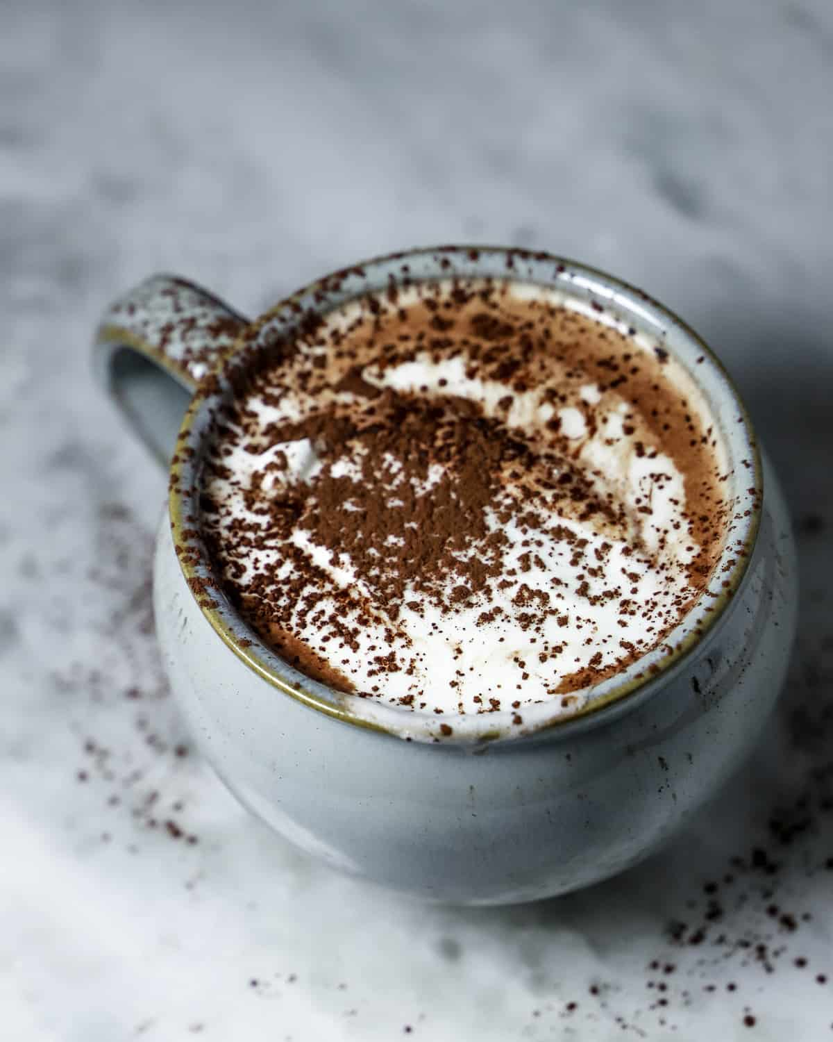 Hot chocolate in a mug with whipped cream and dust of cocoa powder on top