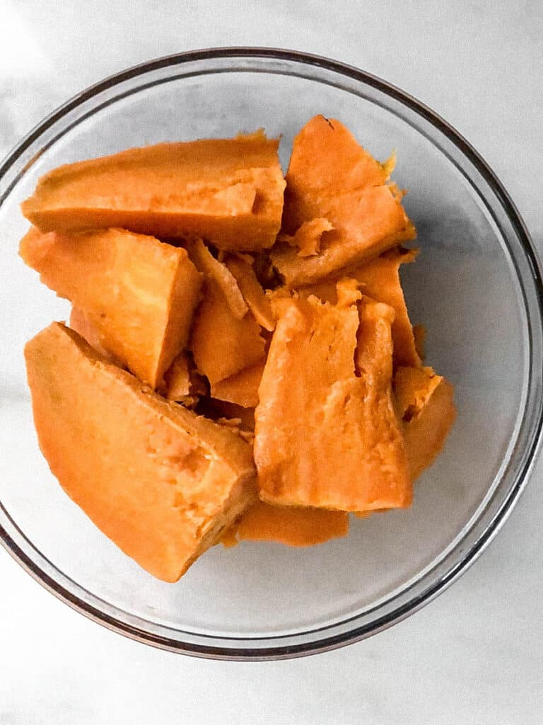 Baked sweet potatoes in a bowl