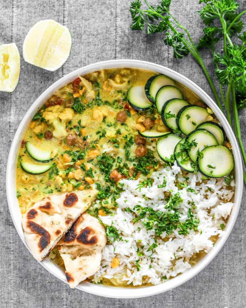 recipe for sweet corn coconut curry with cripsy chickpeas