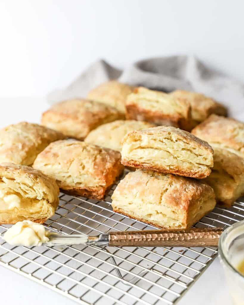 homemade biscuits from scratch, cooling on a wire rack