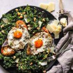 Fried Egg Toast with Kale Caesar Salad