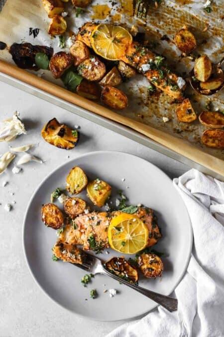 Lemon Garlic Sheet Pan Salmon