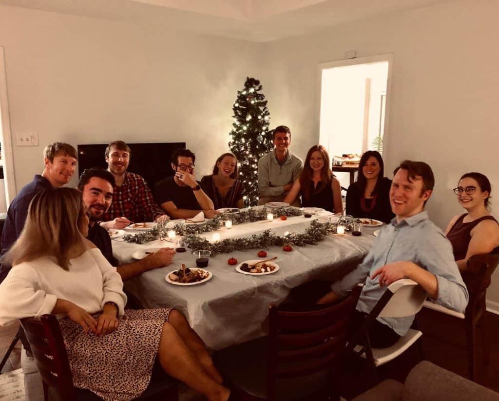 friends + family enjoying dinner