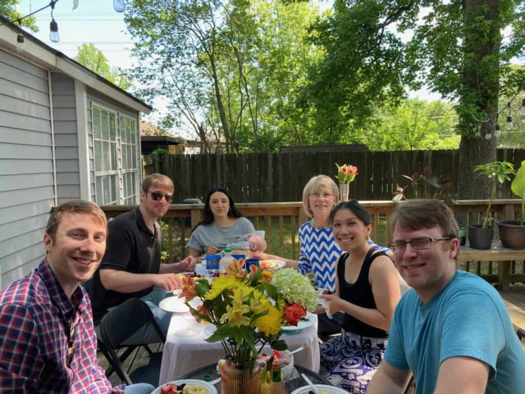 family over mother's day brunch